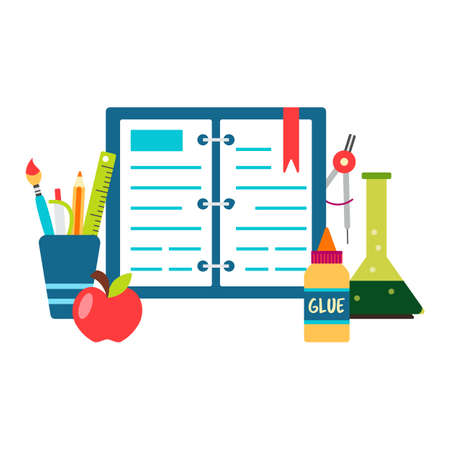 Book back to school supplies vector illustration 矢量图像