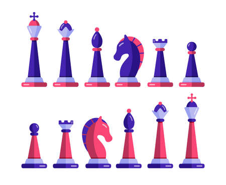 Chess pieces vector set pawn king queen 矢量图像