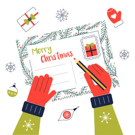 Write hand chritmas greeting card postcard letter