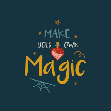 Make own magic witch quote text lettering 矢量图像