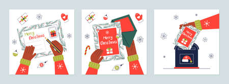Hand chritmas greeting card mailbox postcard letter
