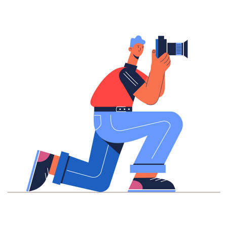 Photographer making photo with camera vector illustration