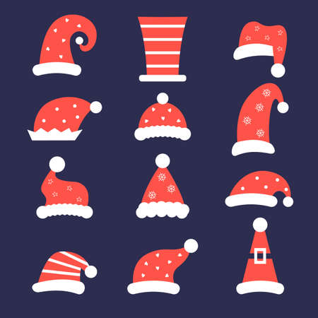Santa hat cap christmas costumes vector set