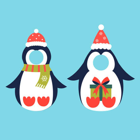 Penguin costume christmas photo booth props set 矢量图像