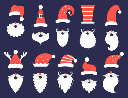 Santa Claus christmas beards hats vector set