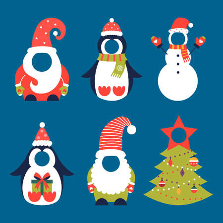Christmas Santa penguin snowman gnome costume set 矢量图像