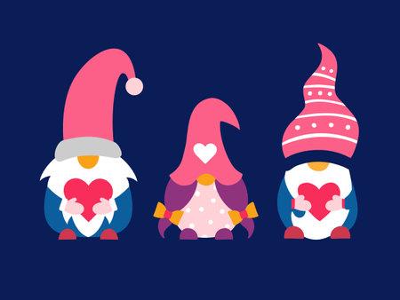 Valentine cute gnomes dwarfs holding hearts set 免版税图像 - 161246899