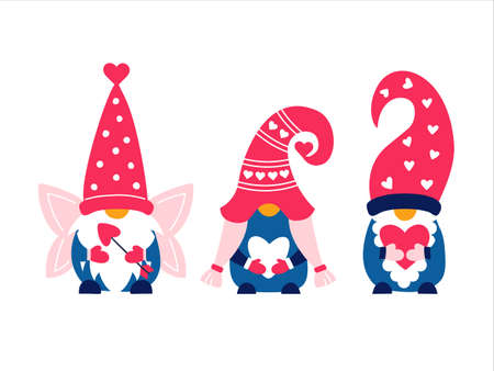 Valentine cute gnomes dwarfs cupid love heart 矢量图像