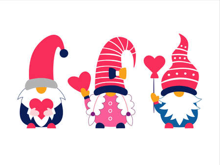 Valentine cute gnomes dwarfs holding hearts set