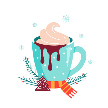 Christmas hot chocolate with cookie and candy
