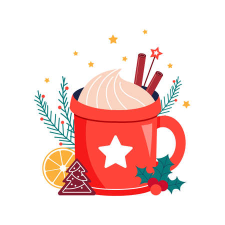 Christmas winter hot drink in red cup