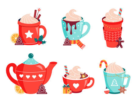 Hot christmas chocolate cocoa mugs vector set 矢量图像