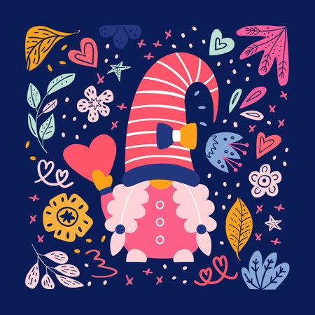 Valentine cute gnomes dwarfs cards poster banner 免版税图像 - 161246923