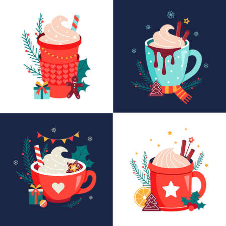 Hot christmas drinks chocolate mugs vector set