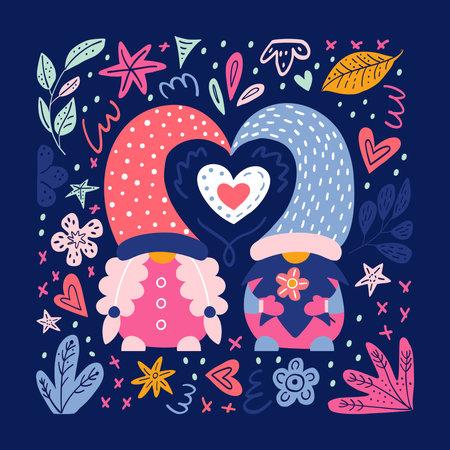 Valentine cute gnomes dwarfs cards poster banner 免版税图像 - 161246926