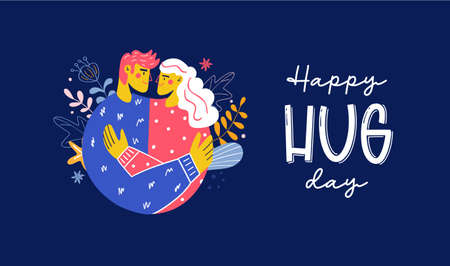 National hug day happy embrace vector illustration
