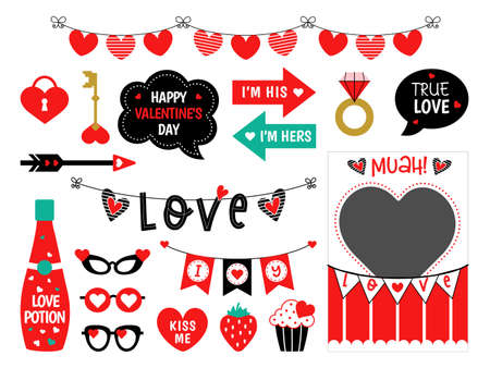 Photo booth props Valentines Day wedding party 矢量图像