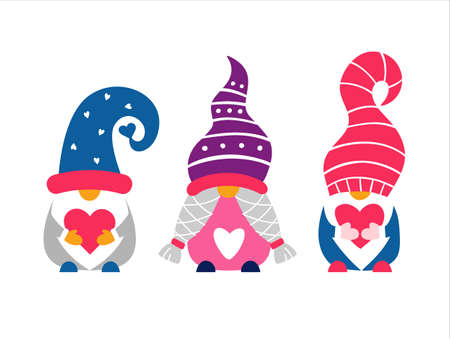 Valentine cute gnomes hand drawn vector illustration. 矢量图像