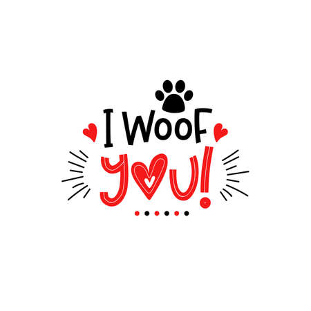 Dog valentines day lettering Pets puppy typography