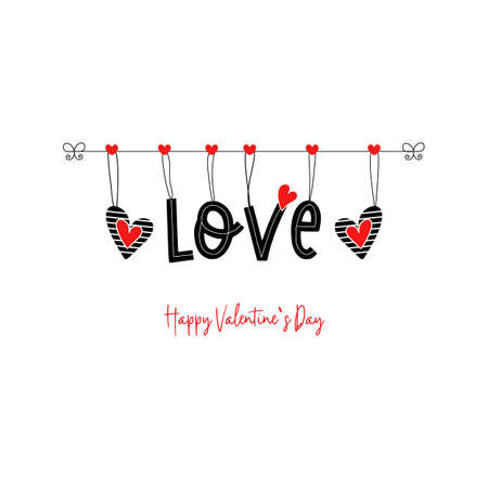 Happy Valentines Day text vector word love 矢量图像