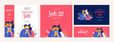 Happy Valentine Day sale banner offer email couple
