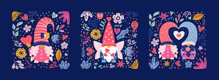 Valentine cute gnomes dwarfs cards poster banner 免版税图像 - 161804206