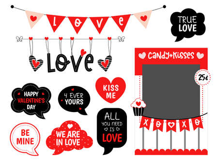 Valentines day candy and kisses photo booth props 矢量图像