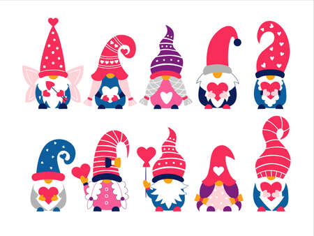 Valentine cute gnomes dwarfs hand drawn vector illustration