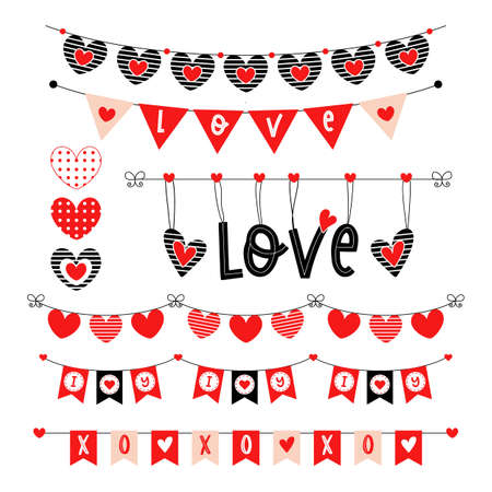 Valentines day heart bunting wedding garland set