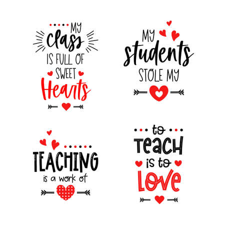 Teacher Valentines day typography lettering text set