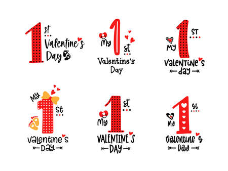 My first Valentines Day Vector typography kids 向量圖像
