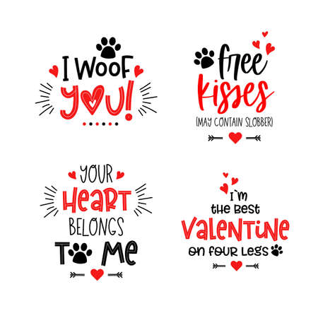 Dog pet puppy valentines day lettering set 向量圖像