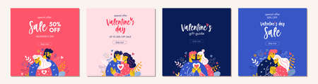 Happy Valentine Day sale background people typography