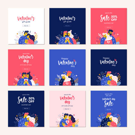 Happy Valentine Day sale card template banner