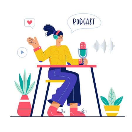 Audio podcast or online radio show illustration