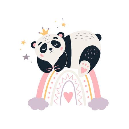 Cartoon Panda vector Cute sleeping baby bear 矢量图像