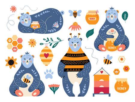 Cartoon vector set bear honey and bee