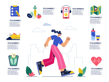 Run and jogging infographic for healthy lifestyle