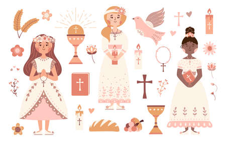 First communion vector set praying girls with Bible 矢量图像