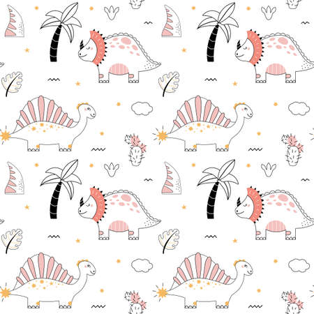 Cute dinosaur Seamless pattern doodle style Outline baby dino