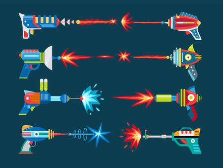 Cartoon blaster laser gun vector weapon set 矢量图像
