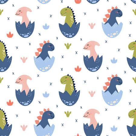 Dinosaurs vector Seamless pattern in cartoon style 矢量图像