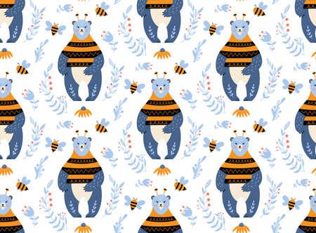 Bear seamless pattern nursery print honey bee