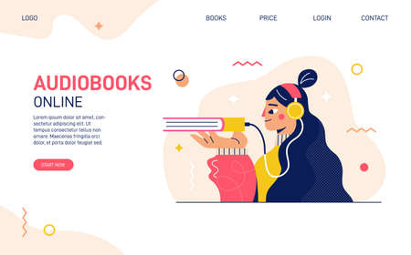 Audio books library landing page website template
