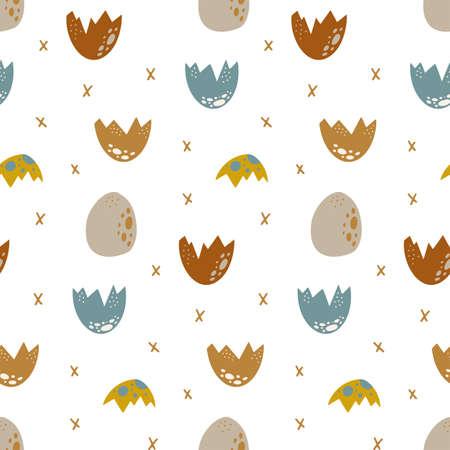 Cute dinosaur Seamless pattern Cartoon baby dino nursery print 矢量图像