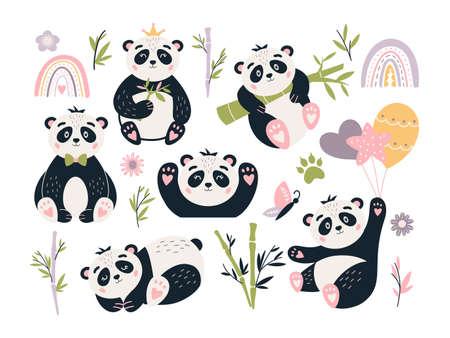 Cute Panda vector set Baby bear bamboo