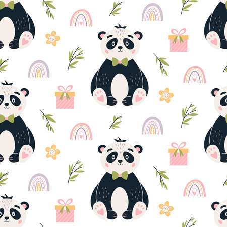 Panda Seamless pattern Cute baby bear vector background 矢量图像