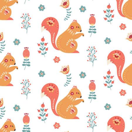 Scandinavian squirrel seamless pattern folk forest animal background 矢量图像