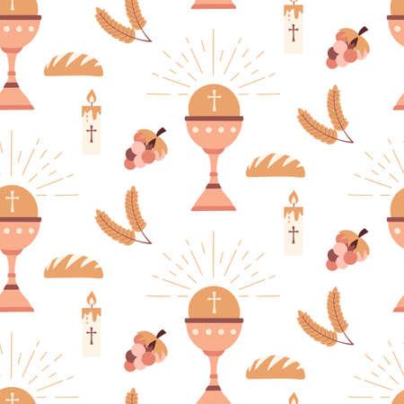 Christian seamless pattern Baptism catholic religious symbols