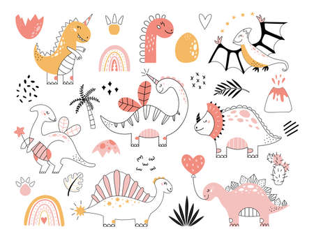 Dinosaurs vector set in doodle style Cute outline baby dino